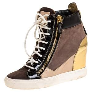 Giuseppe Zanotti Tricolor Suede Leather Wedge Sneakers Size 38