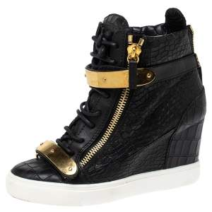 Giuseppe Zanotti Black Croc Embossed Leather Lorenz Wedge Sneakers Size 38