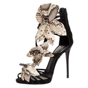 Giuseppe Zanotti Black Satin And Embossed Snakeskin Strappy Sandals Size 39