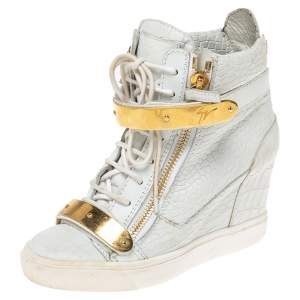 Giuseppe Zanotti White Croc Embossed Leather Lorenz Wedge High Top Sneakers Size 38