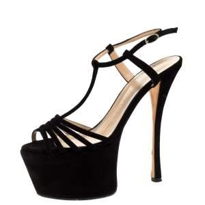 Giuseppe Zanotti Black Suede Leather T-Strap Platform Sandals Size 37