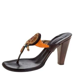 Giuseppe Zanotti Multicolor Leather and Python Crystal Embellished Vintage Slide Sandals Size 39