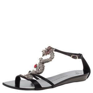 Giuseppe Zanotti Black Satin Crystal Embellished Dragon Ankle Strap Flat Sandals Size 39