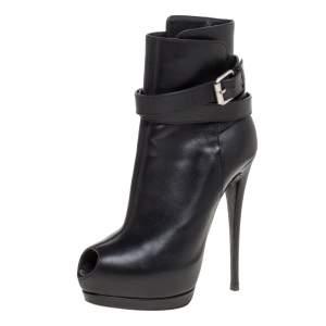 Giuseppe Zanotti Black Leather Peep Toe Platform Ankle Booties Size 39