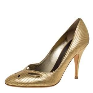 Giuseppe Zanotti Metallic Gold Lizard Embossed Leather Cut Out Pumps Size 37.5