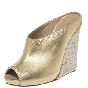 Giuseppe Zanotti Gold Leather Espadrille Wedge Peep Toe Mules Size 37
