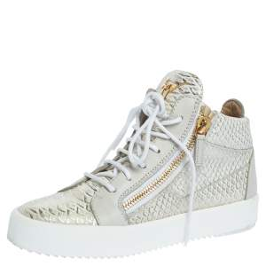 Giuseppe Zanotti White Python Embossed Leather Double Zip High Top Sneakers Size 37.5