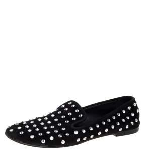 Giuseppe Zanotti Black Suede Crystal Studded Smoking Slippers Size 39