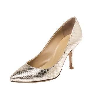 Giuseppe Zanotti Metallic Gold Snakeskin Embossed Leather Lucrezia Pointed Toe Pumps Size 35