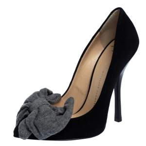 Giuseppe Zanotti Black/Grey Suede and Fabric Bow Pointed Toe Pumps Size 36