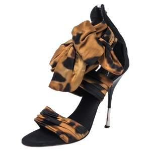 Giuseppe Zanotti Brown/Black Fabric And Leather Bow Ankle Cuff Sandals Size 38