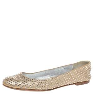 Giuseppe Zanotti Gold Leather Crystal Embellished Ballet Flats Size 38