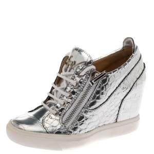 Giuseppe Zanotti Metallic Silver Croc Embossed Leather Double Zip Wedge Sneakers Size 37
