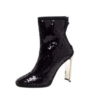 Giuseppe Zanotti Black Sequin And Suede Trims Ankle Boots Size 38.5