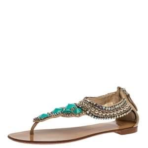Giuseppe Zanotti Beige Leather Crystal Embellished Thong Flats Size 38.5