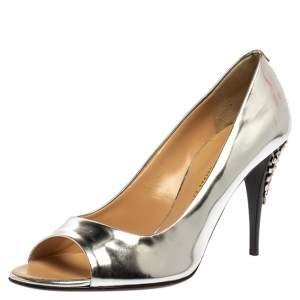حذاء كعب عالي جوسيبي زانوتي مقدمة مفتوحة كعب مزخرف جلد فضي ميتالك مقاس 39