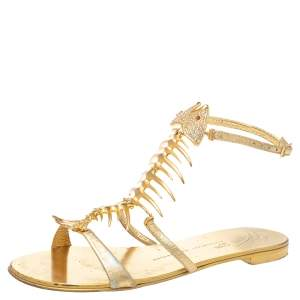 Giuseppe Zanotti Gold Leather Fishbone Embellished Ankle Strap Sandals Size 36