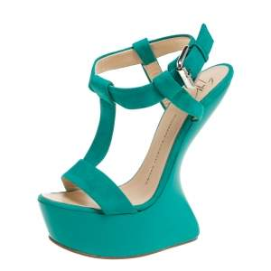 Giuseppe Zanotti Turquoise Blue Suede T Strap Platform Heel Less Wedge Sandals Size 38