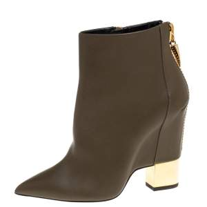 Giuseppe Zanotti Olive Green Leather  Pointed Toe Ankle Booties Size 38