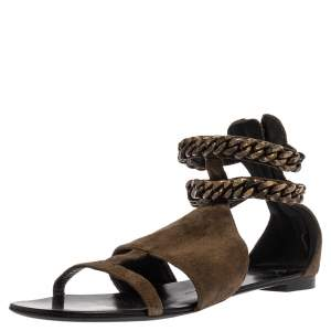 Giuseppe Zanotti Green Suede Chained Ankle Strap Flat Sandals Size 40