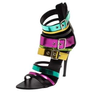 Giuseppe Zanotti Multicolor Metallic Patent Leather Sandals Size 36