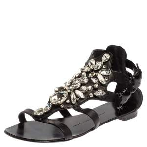 Giuseppe Zanotti Black Leather Crystal Embellished Ankle Strap T Strap Flat Sandals Size 36