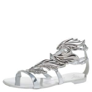 Giuseppe Zanotti Metallic Silver Leather Cruel Summer Flat Sandals Size 38
