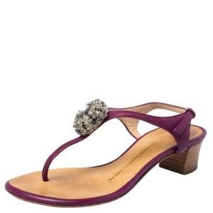 Giuseppe Zanotti Purple Leather Crystal embellished Thong Sandals Size 36