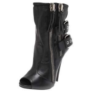 Giuseppe Zanotti Black Leather Peep Toe Biker Ankle Boots Size 37