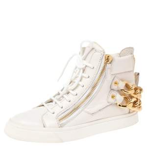 Giuseppe Zanotti White Leather Double Zip High Top Sneakers Size 36.5