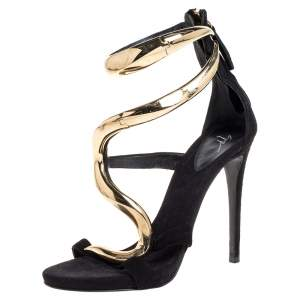 Giuseppe Zanotti Black Suede Alien Ankle Strap Sandals Size 35