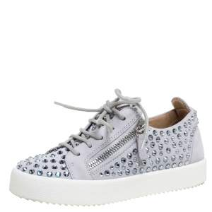 Giuseppe Zanotti Grey Suede Crystal Embellished Doris Sneakers Size 36