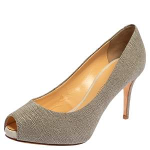 Giuseppe Zanotti Grey Glitter Fabric Peep Toe Pumps Size 37