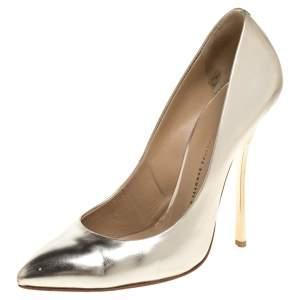 Giuseppe Zanotti Gold Patent Leather Pointed Toe Pumps Size 40