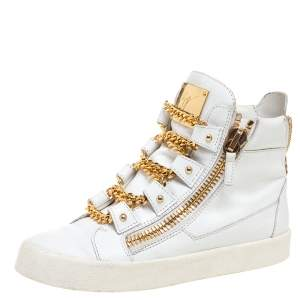 Giuseppe Zanotti White/Gold Leather Royce Chain High Top Sneakers Size 40
