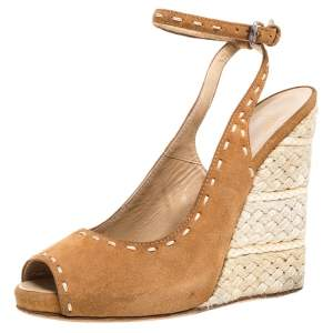 Giuseppe Zanotti Brown Suede Leather Peep Toe Wedge Espadrille Ankle Wrap Sandals Size 38