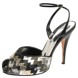 Giuseppe Zanotti Black/Silver Zigzag Patent and Leather Mixed Media Peep Toe Platform Sandals Size 39.5