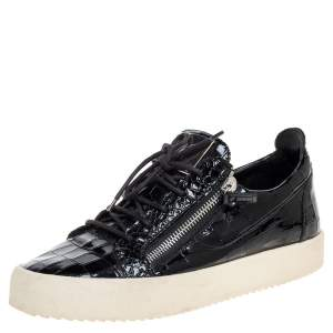 Giuseppe Zanotti Black Croc Embossed Leather Low Top Sneakers Size 44.5