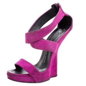 Giuseppe Zanotti Purple Suede Sculpted Wedge Sandals Size 39