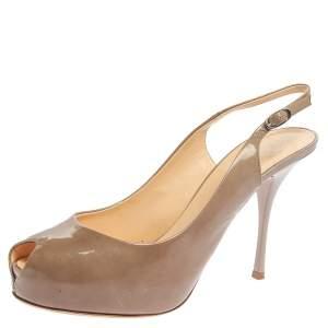 Giuseppe Zanotti  Beige Patent Leather Slingback Peep Toe Platform Sandals Size 41