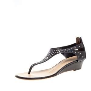 Giuseppe Zanotti Black Leather Crystal Studded Thong Sandals Size 37