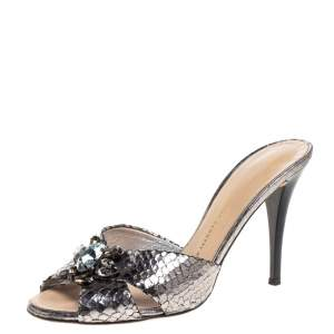 Giuseppe Zanotti Metallic Grey Crackled Leather Crystal Embellished Slide Sandals Size 38.5