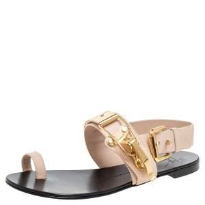 Giuseppe Zanotti Beige Leather Toe Ring Buckle Slingback Flats Size 37