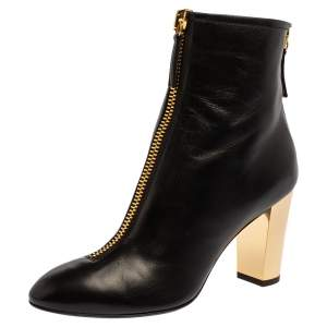 Giuseppe Zanotti Black Leather Block Heel Ankle Boots Size 37