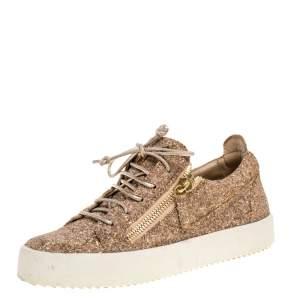 Giuseppe Zanotti Gold Glitter Double Zip Low Top Sneakers Size 39