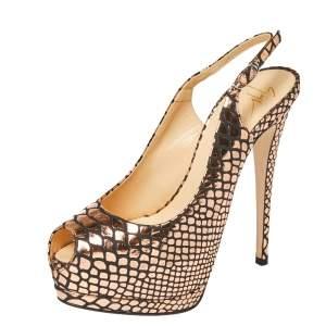 Giuseppe Zanotti Metallic Bronze/ Black Foil Leather Slingback Peep Toe Pumps Size 38