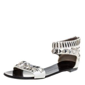Giuseppe Zanotti White Leather Studded Ankle Cuff Zipper Flats Size 36