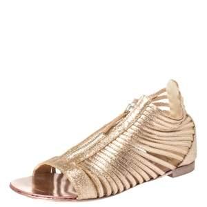 Giuseppe Zanotti Gold Glitter Zipped Caged Flat Sandals Size 36