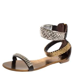 Giuseppe Zanotti Brown Leather Crystal Embellished Ankle Cuff Flat Sandals Size 36