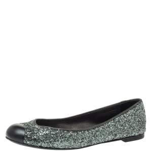 Giuseppe Zanotti Grey Glitter Fabric Cap Toe Ballet Flats Size 35